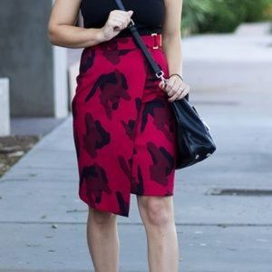 H&M red leopard print pencil skirt